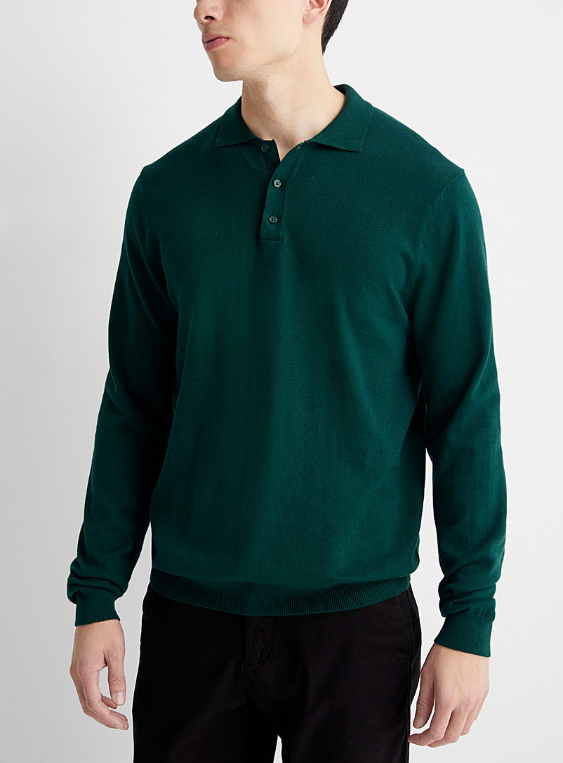 Le 31 Mossy Green Modal polo sweater for men