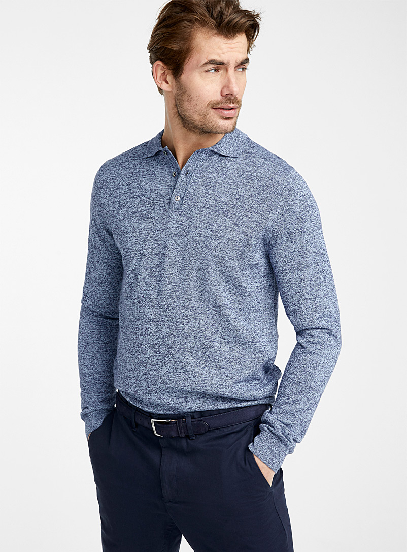 Le 31 Slate Blue Modal polo sweater for men