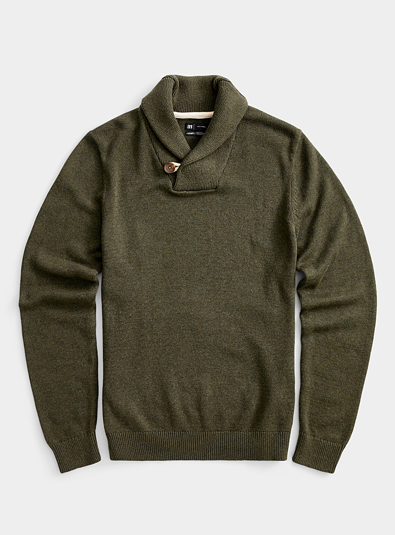 Le 31 Charcoal Organic cotton shawl-collar sweater for men