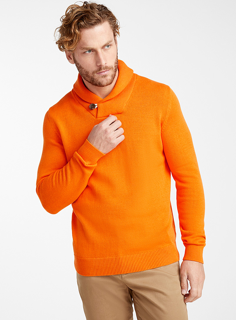 Le 31 Orange Organic cotton shawl-collar sweater for men