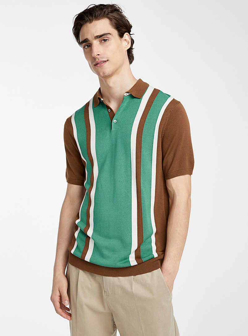 Le 31 Dark Brown Retro block polo for men