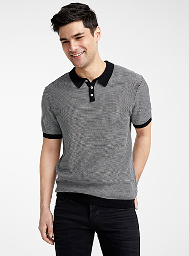 Le 31 Black Openwork mercerized knit polo for men