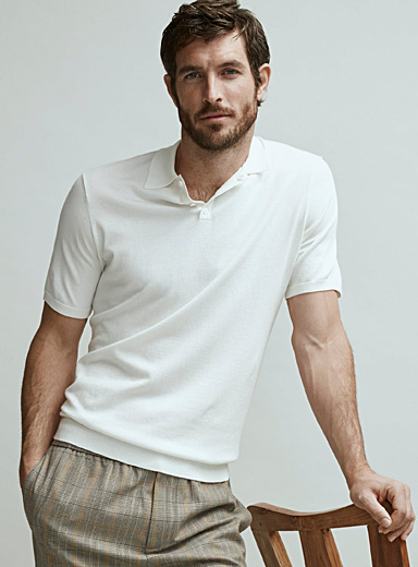 Le 31 Ivory White Eco-friendly knit polo   for men