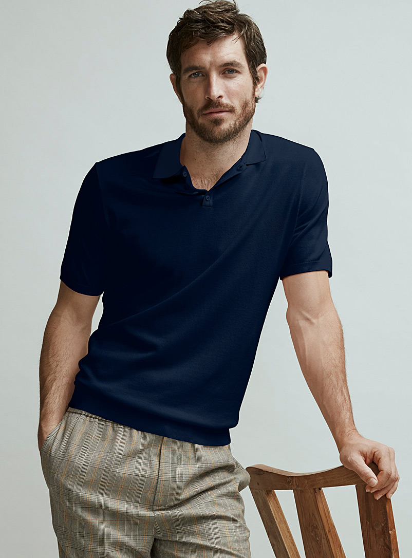 Le 31 Marine Blue Eco-friendly knit polo   for men