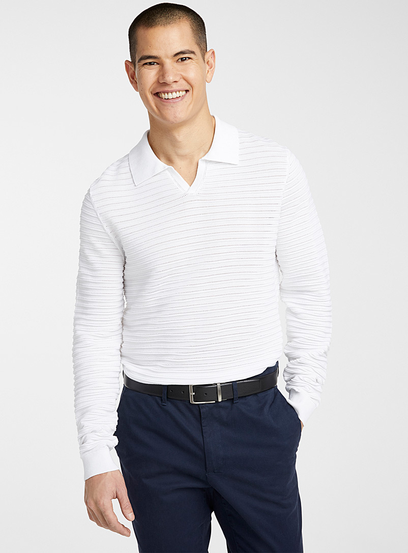 Le 31 White Striped texture polo-collar sweater for men