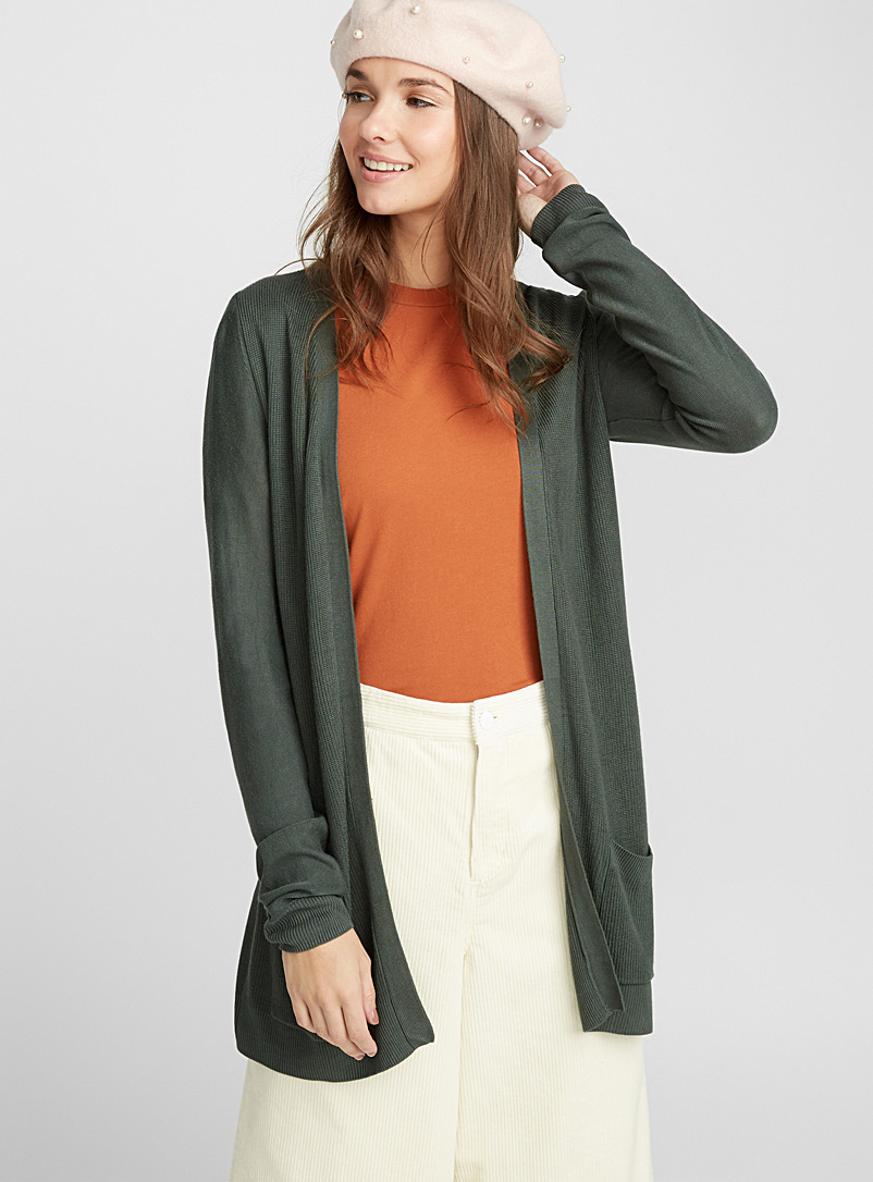 Mixed knit cardigan - Cardigans - Green