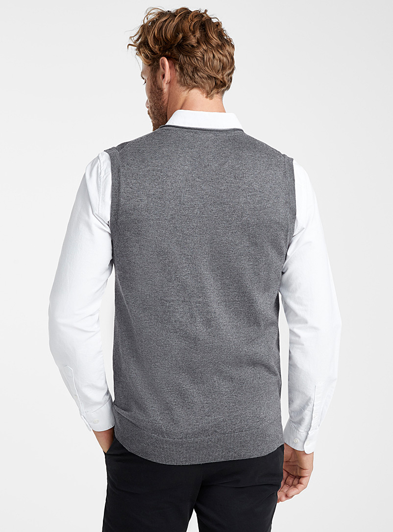 Le 31 Charcoal Cotton and modal tank for men