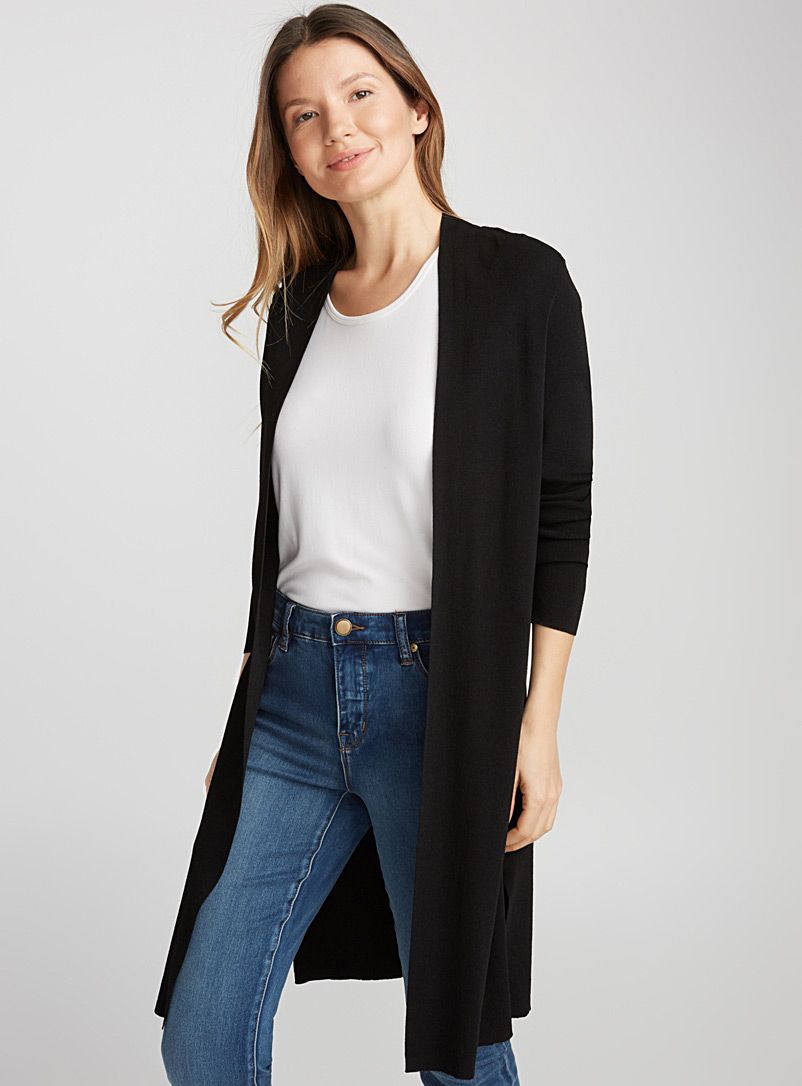 Pearly thin-knit long cardigan - Cardigans - Black