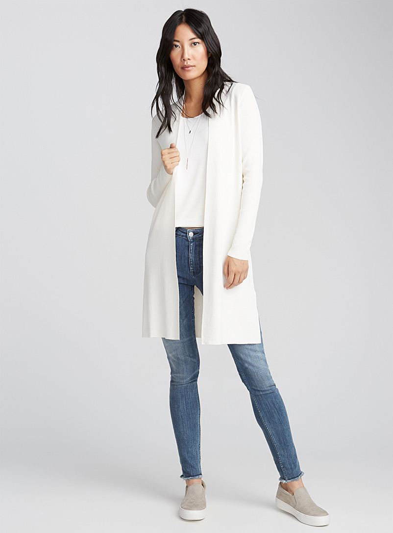 Pearly thin-knit long cardigan - Cardigans - White