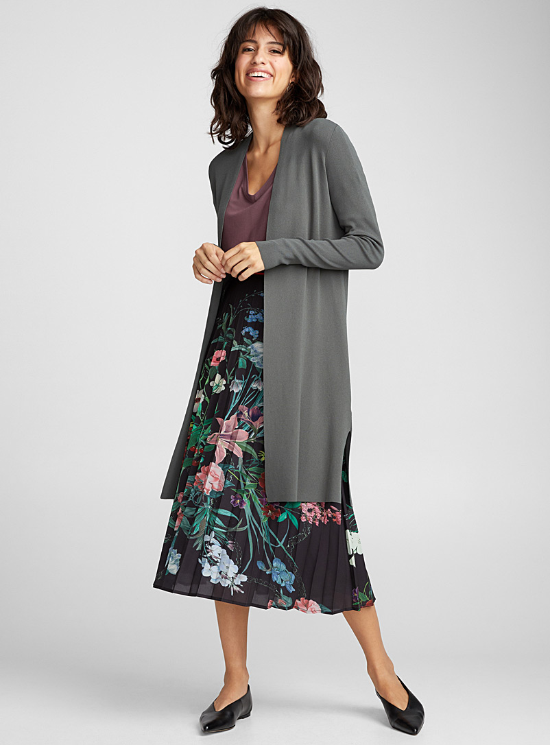 Pearly thin-knit long cardigan - Cardigans - Bottle Green