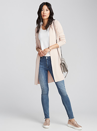 Pearly thin-knit long cardigan