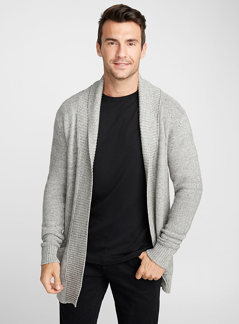 Le 31 Charcoal Rib-knit open cardigan for men