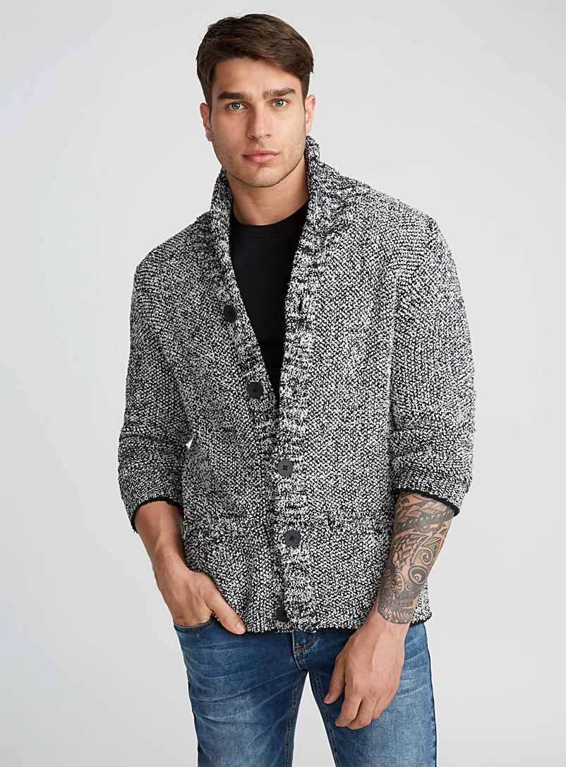 Chenille shawl collar cardigan - Shawls & Cardigans - Patterned Black