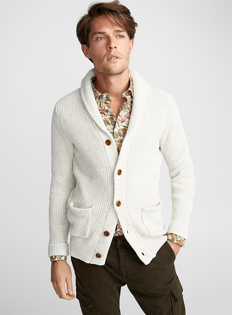 Ribbed shawl-collar cardigan - Cotton - Ivory White