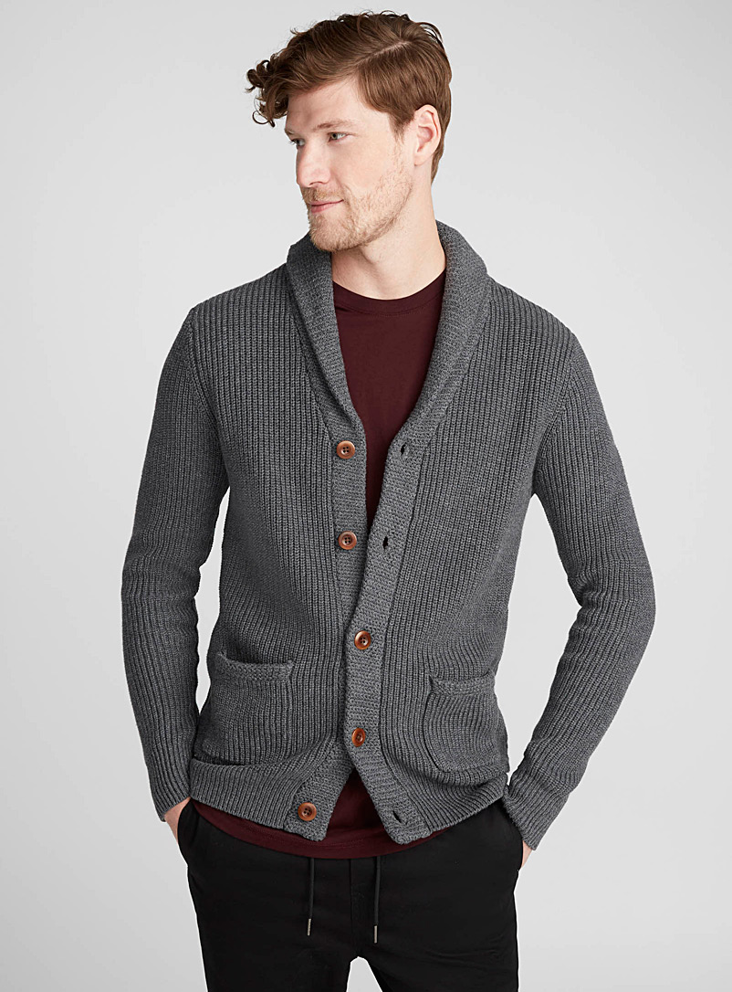 Le 31 Charcoal Ribbed shawl-collar cardigan for men