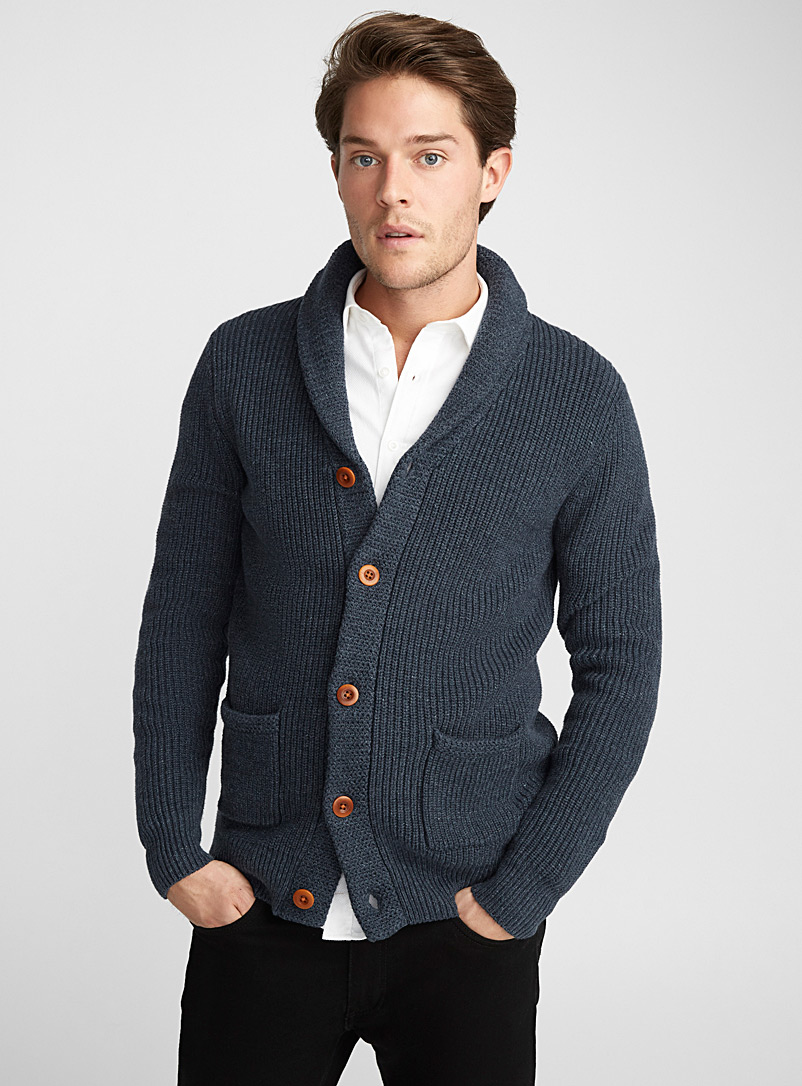 Le 31 Dark Blue Ribbed shawl-collar cardigan for men