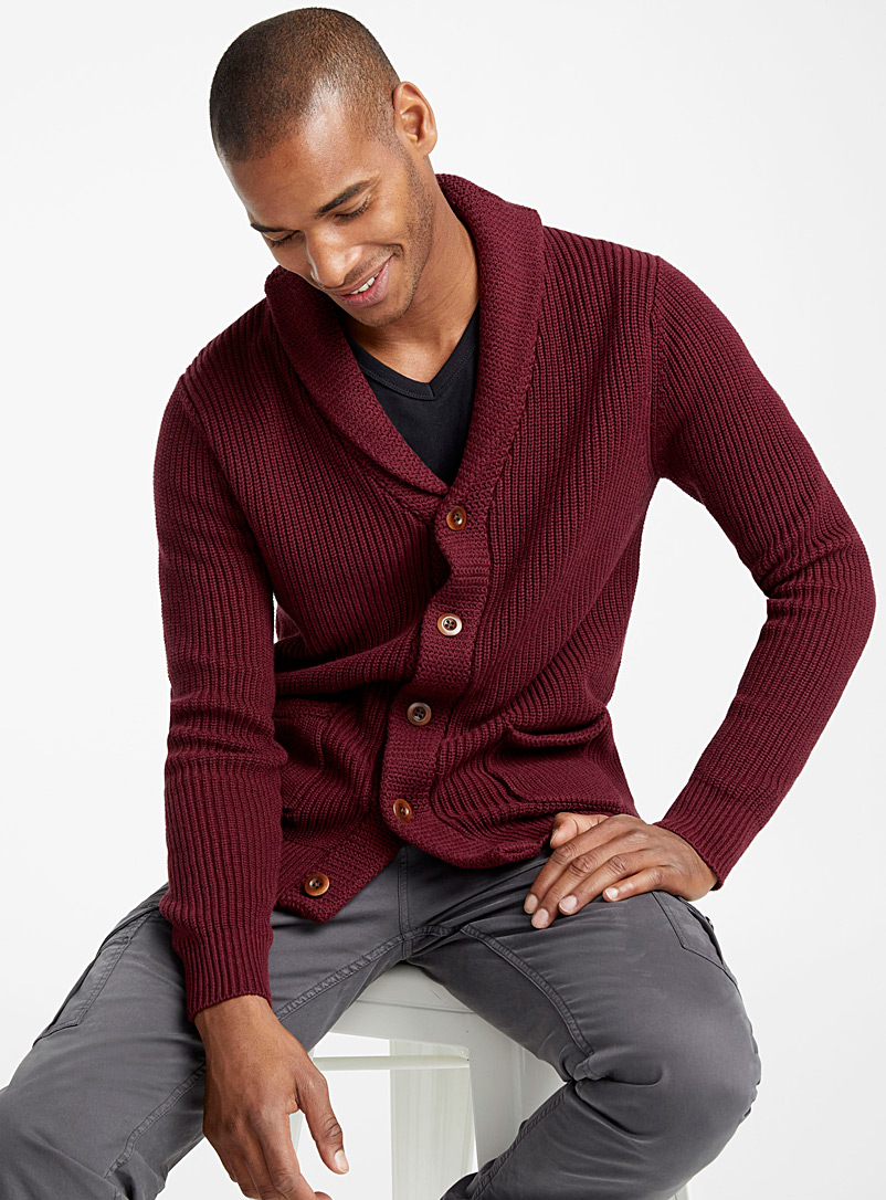 Ribbed shawl-collar cardigan - Cotton - Cherry Red
