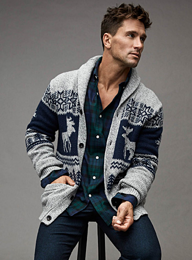 Moose jacquard shawl-collar cardigan