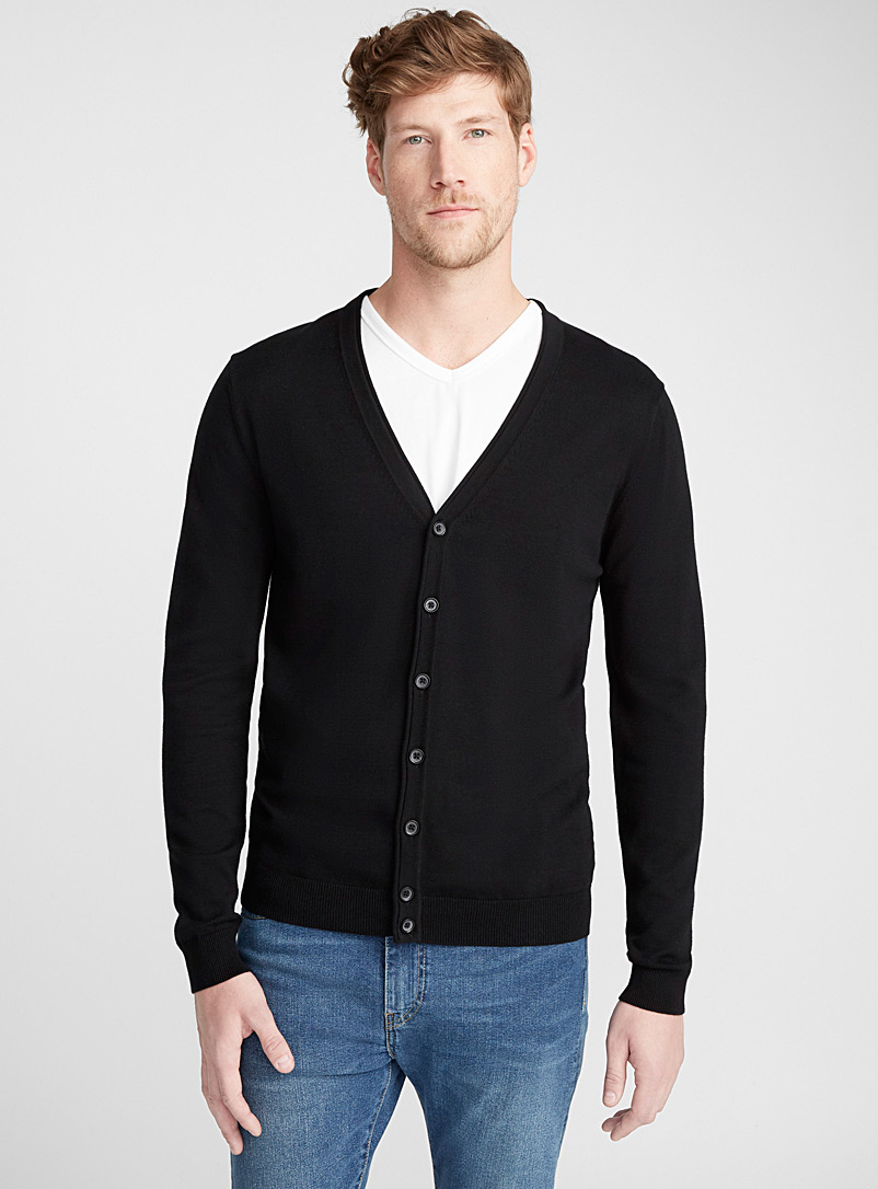 Le 31 Black Organic cotton knit cardigan for men