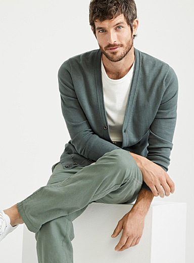 Le 31 Bottle Green Organic cotton knit cardigan for men