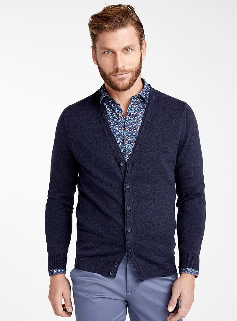 Le 31 Marine Blue Organic cotton knit cardigan for men
