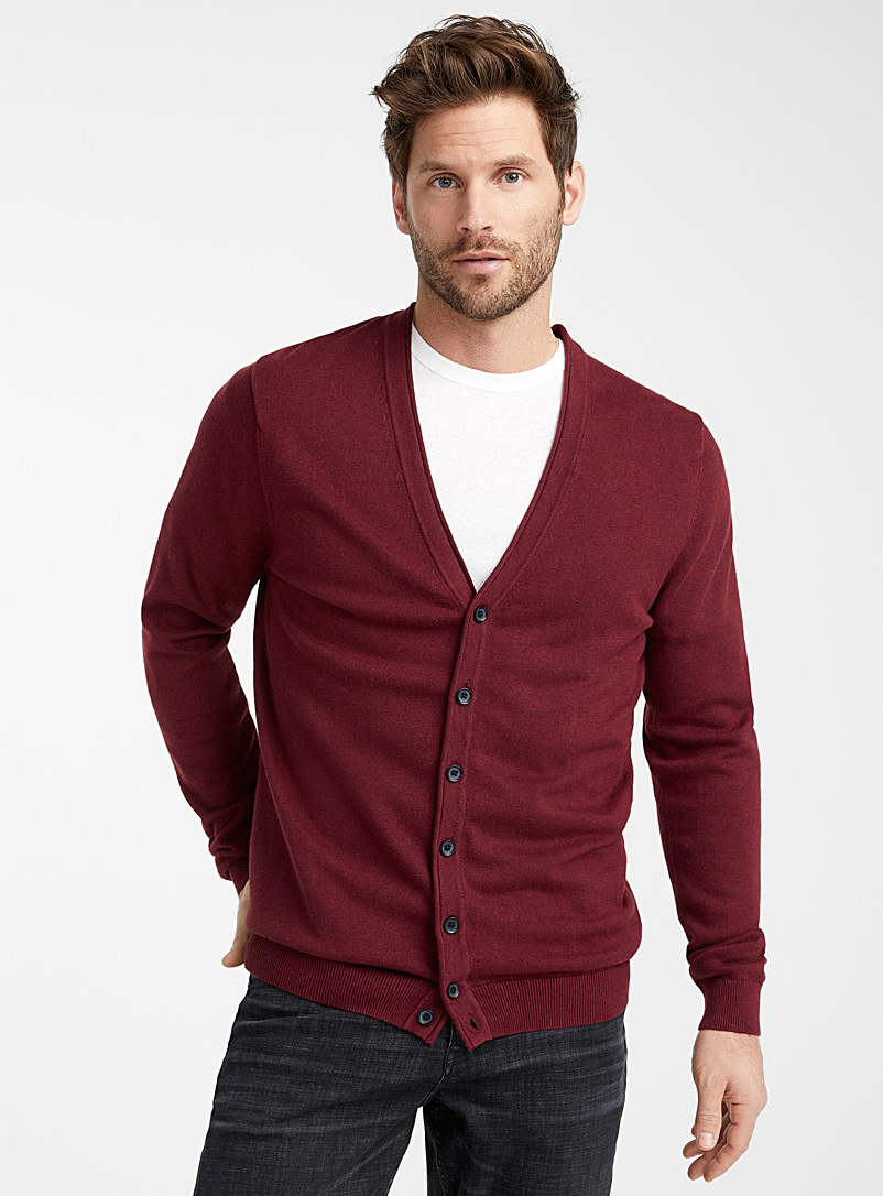 Le 31 Ruby Red Organic cotton knit cardigan for men
