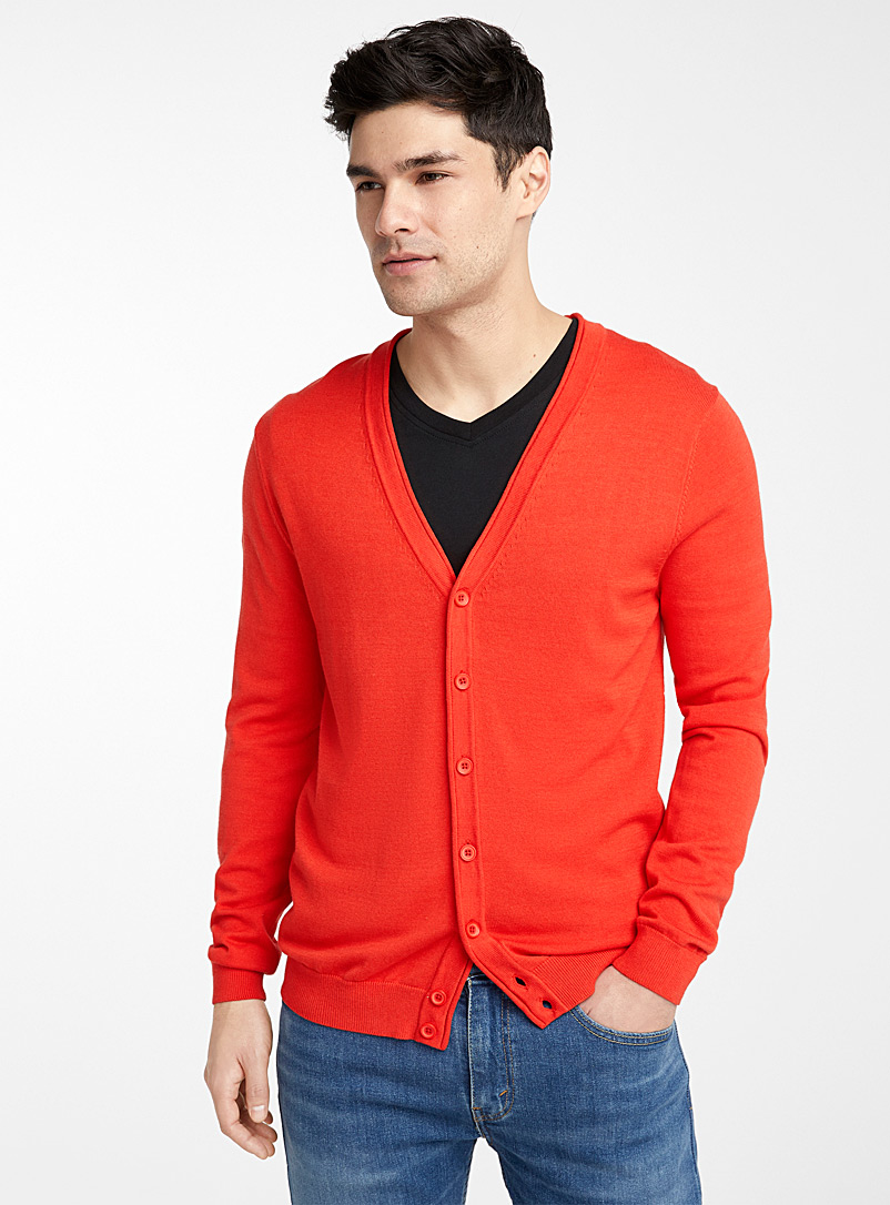 Le 31 Cherry Red Organic cotton knit cardigan for men