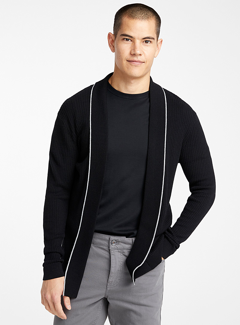 Le 31 Black Contrast trim cardigan for men