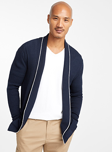 Le 31 Marine Blue Contrast trim cardigan for men
