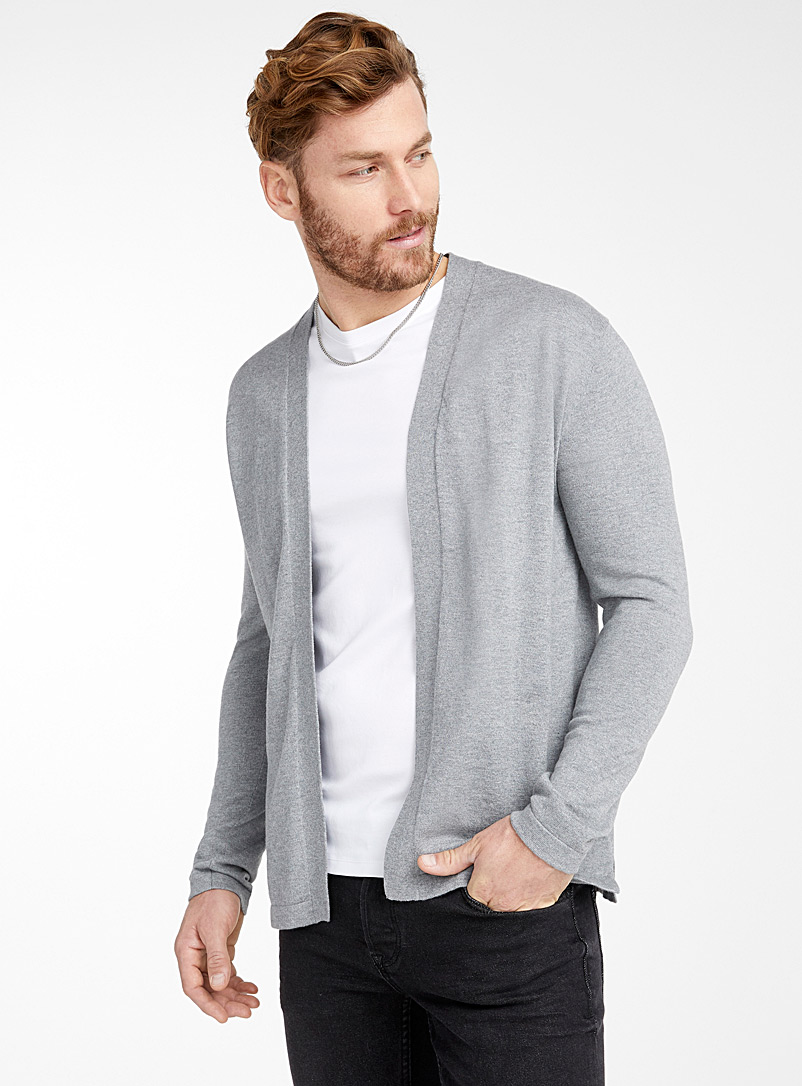 Le 31 Dark Grey Modal and cotton open cardigan for men