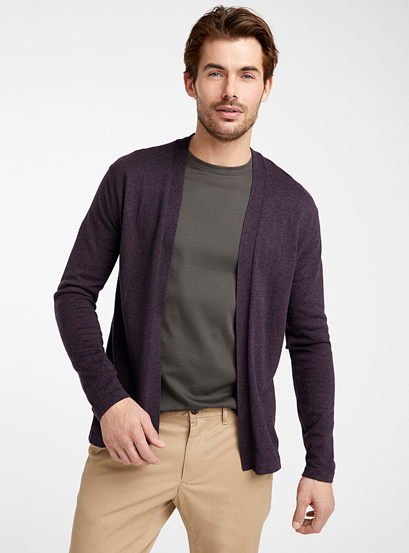 Le 31 Marine Blue Modal and cotton open cardigan for men