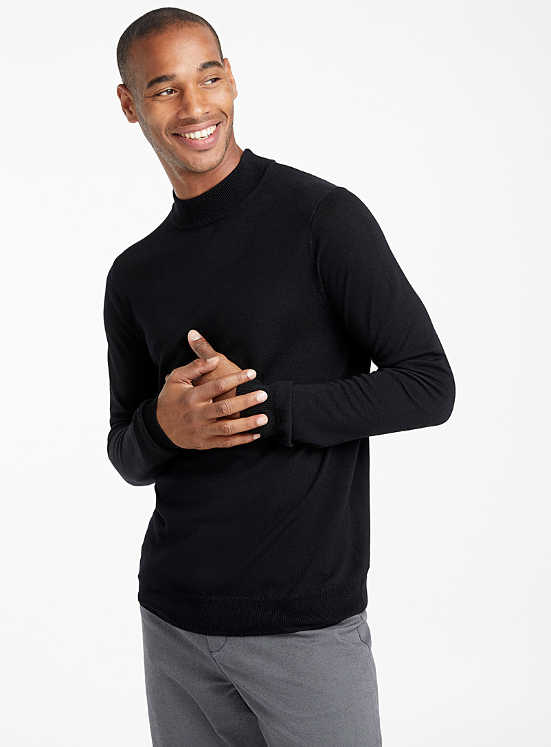 Merino wool mock-neck sweater - Merino Wool - Black