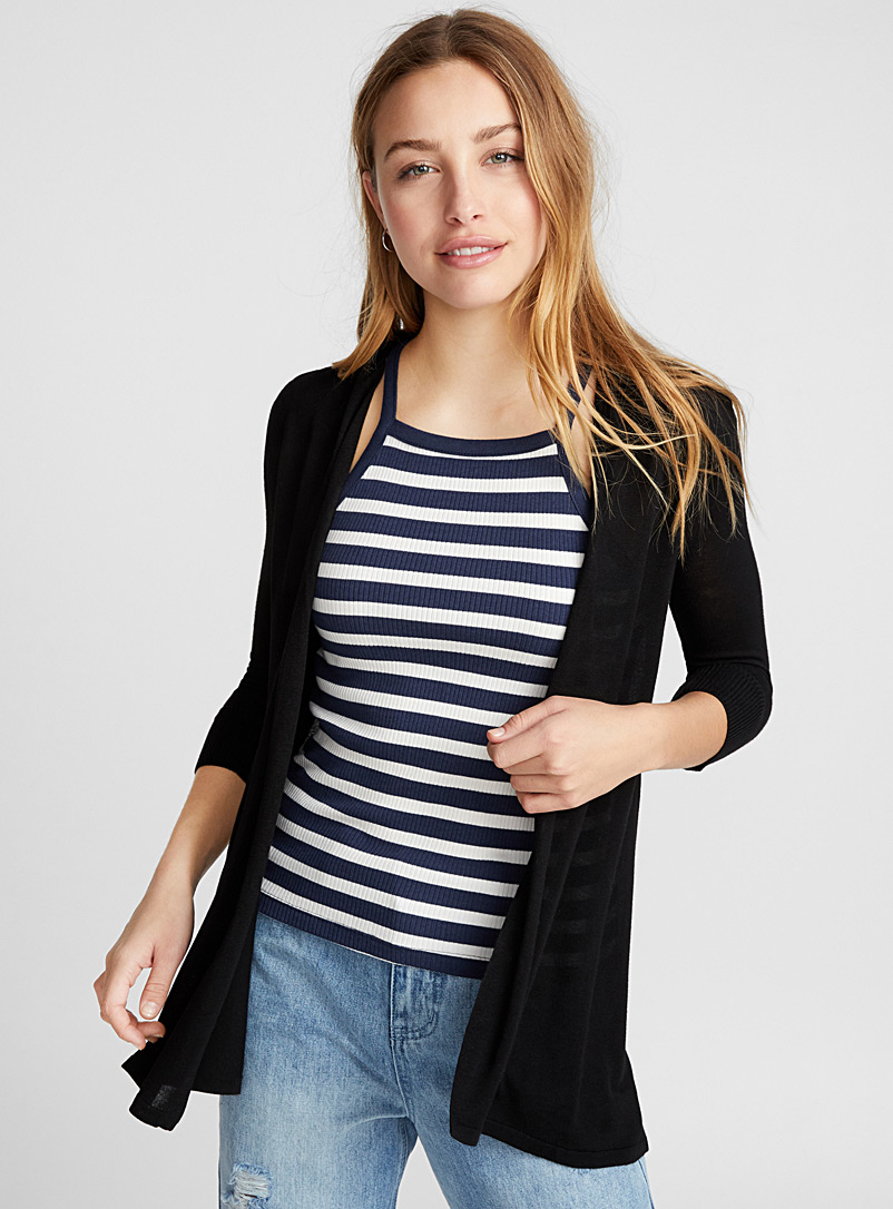 Twik Black Fine knit open cardigan for women