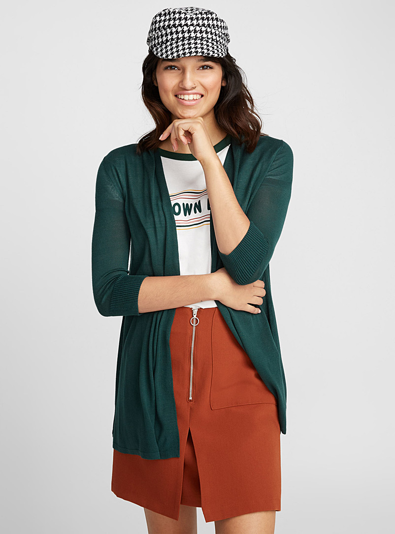 Fine knit open cardigan - Cardigans - Green