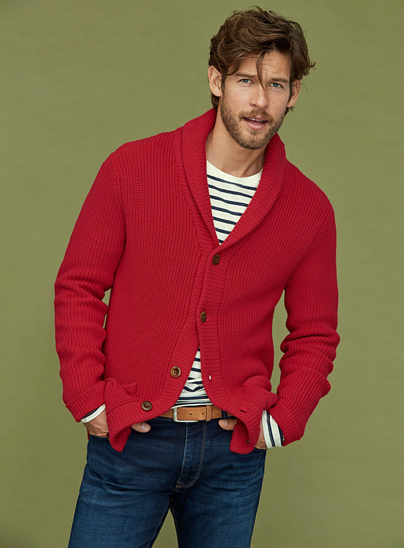 e4310f8bfbb978 Ribbed shawl-collar cardigan | Le 31 | Shop Men's Cotton Sweaters Online |  Simons
