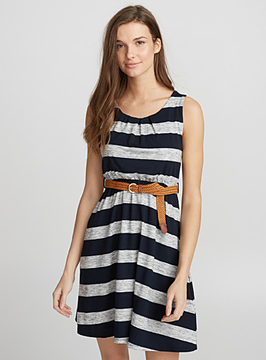 Braided belt fluid dress