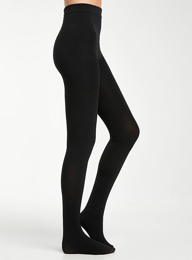 Simons Black Monochrome cotton fleece tights for women