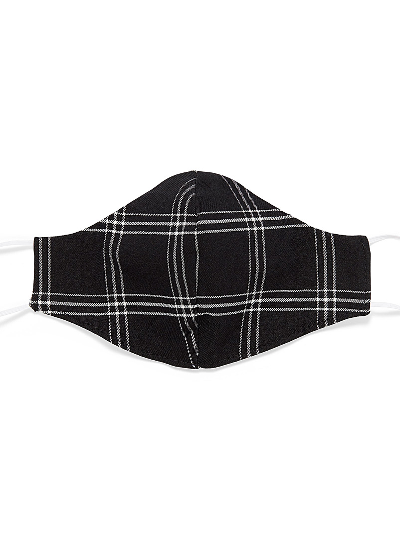 Simons Black Check fabric face mask for women