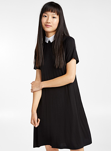 Shirt-collar jersey dress