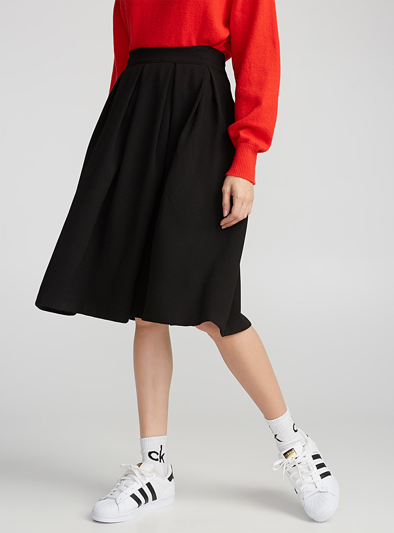 Box-pleat midi skirt - Midi - Black