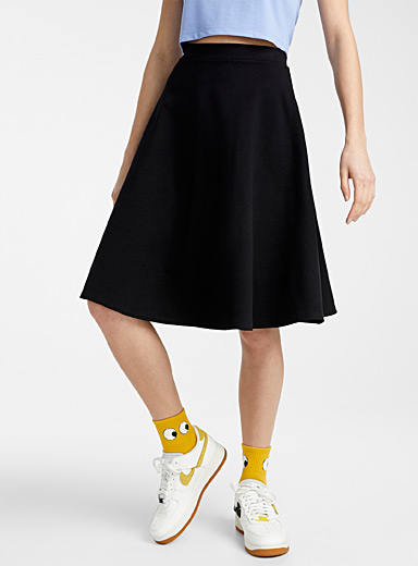 Twik Black Structured jersey midi skirt for women