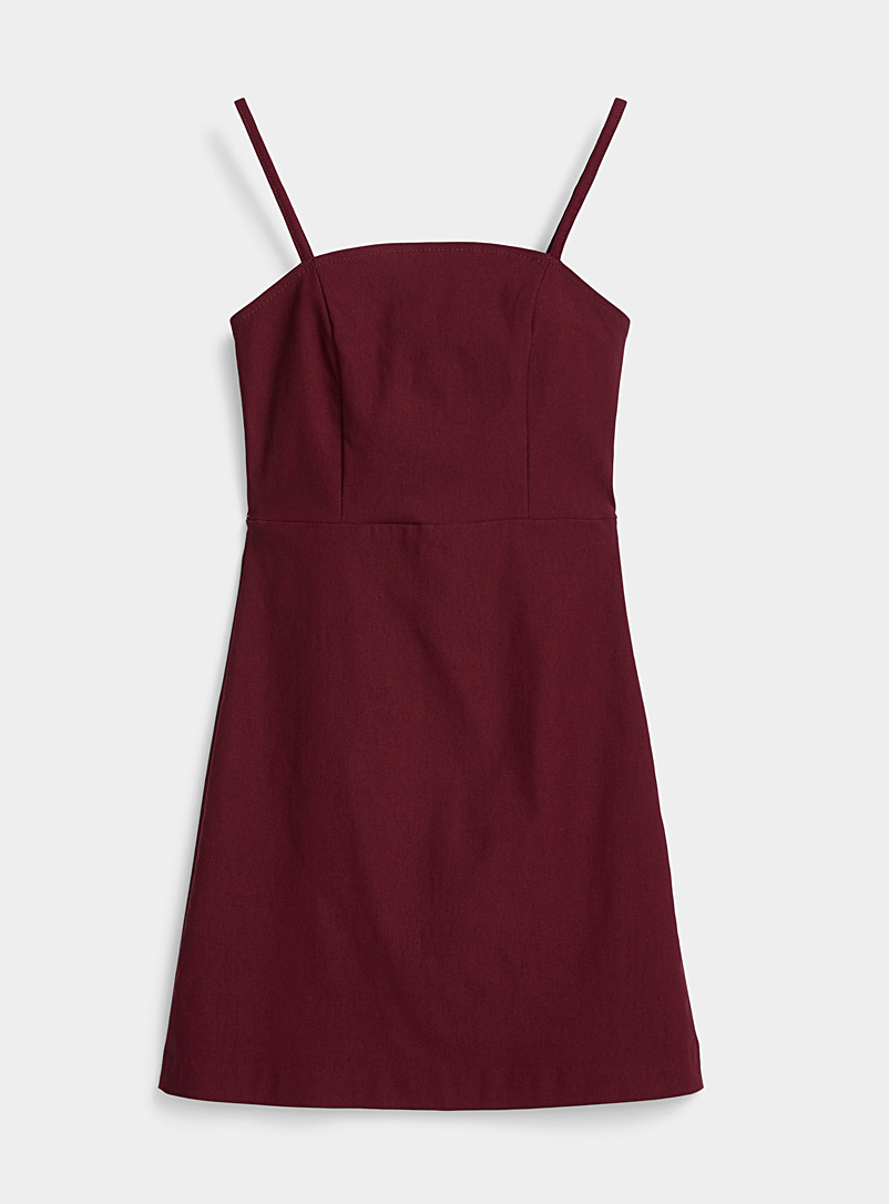 Twik Cherry Red Thin-strap fitted dress for women