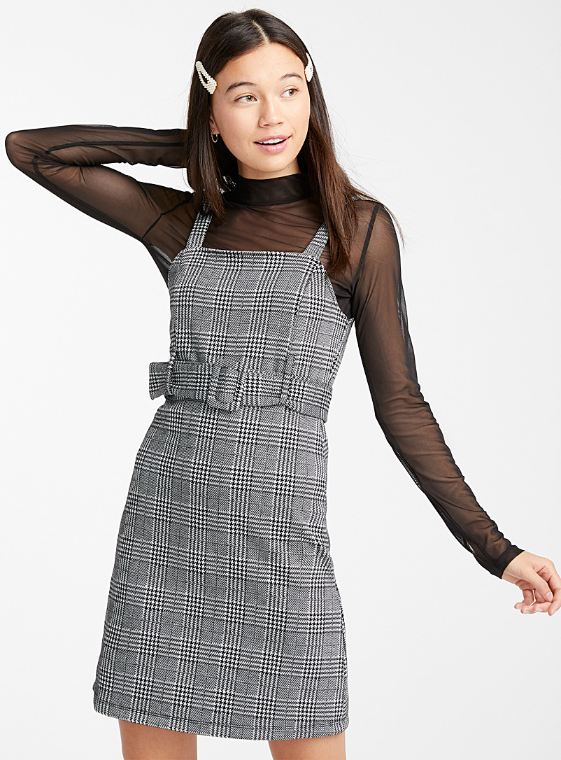 Belted square-neck dress - Bodycon