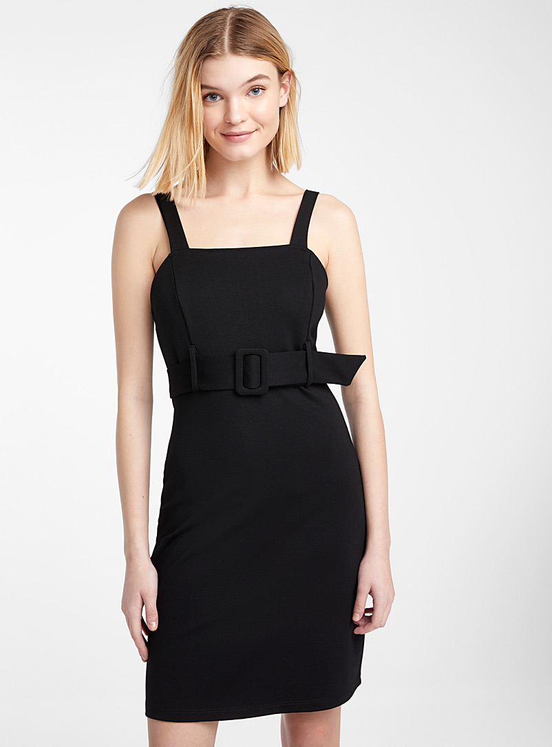 Belted square-neck dress