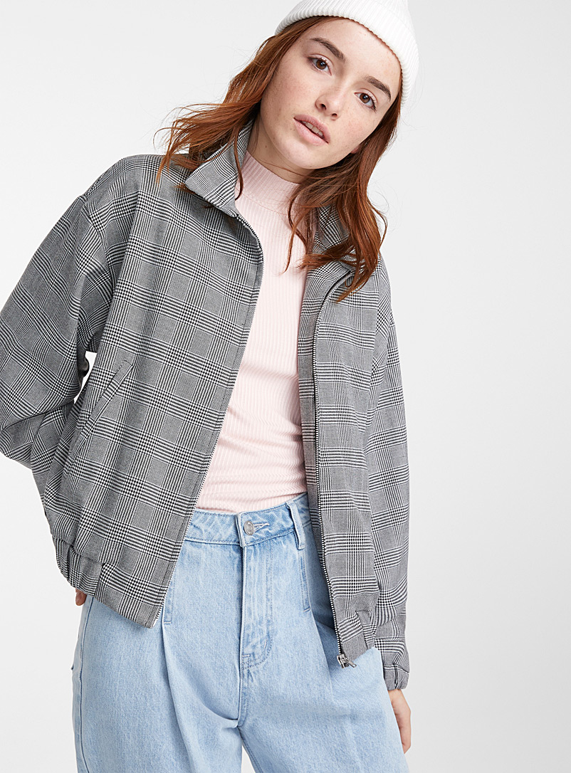 Twik Patterned Black Check grandpa bomber jacket for women