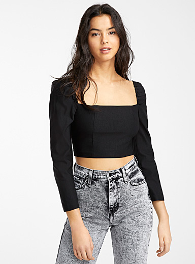Twik Black Cropped square-neck blouse for women
