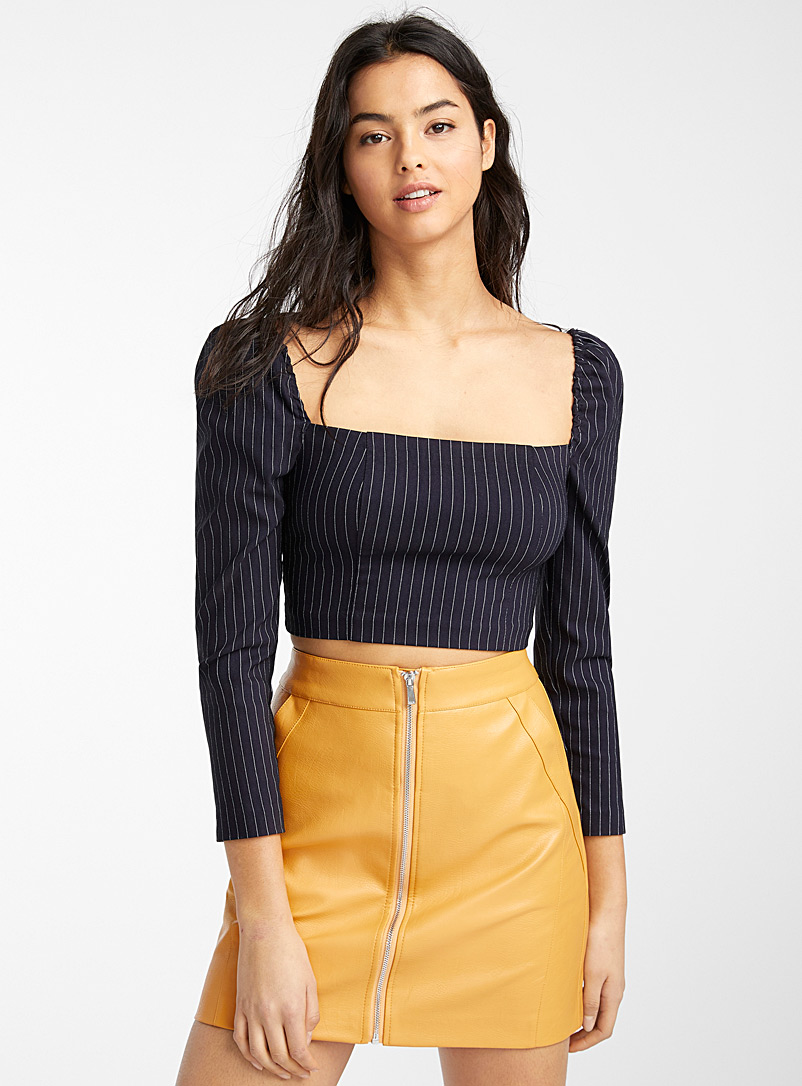 Cropped square-neck blouse - Crop Tops - Marine Blue