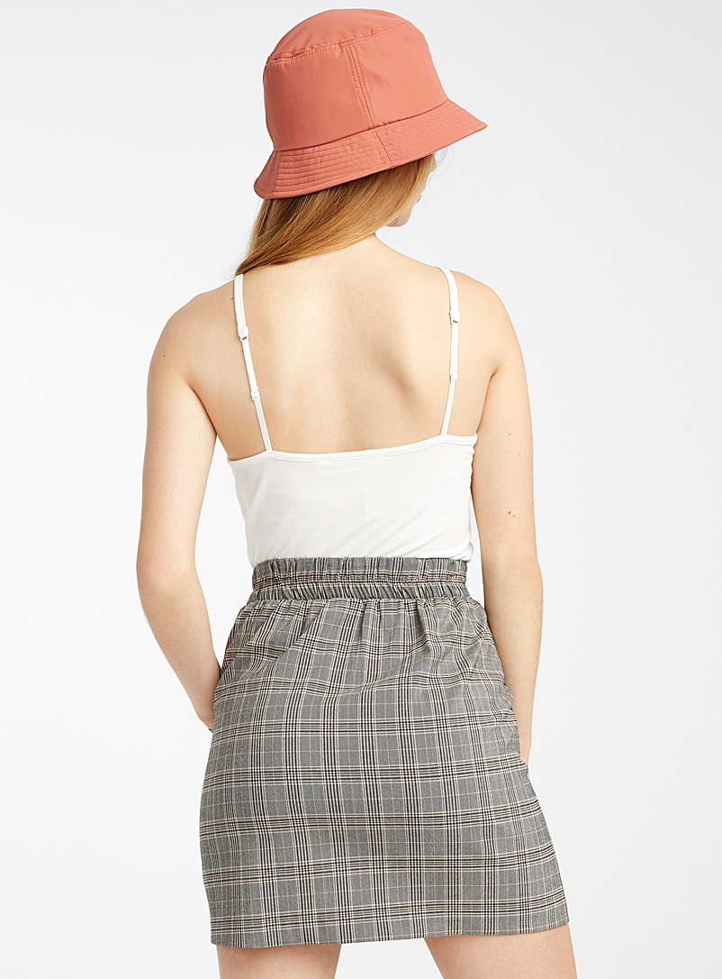 Accent pleats skirt - Short - Patterned Brown