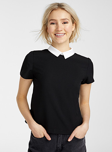 Pointed Peter Pan collar blouse