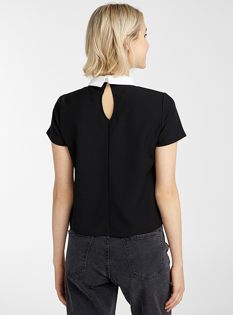 Pointed Peter Pan collar blouse - Blouses - Black
